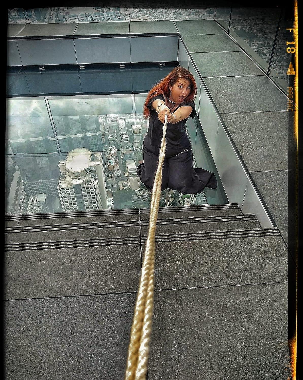 Spaß Glasboden Skywalk Public Bondage